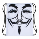 Gymbag Gymsac Rucksack weiß Guy Fawkes Maske