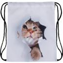 Großhandel Schulbedarf: Gymbag Gymsac Rucksack weiß Katze Riss