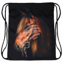 Großhandel Schulbedarf: Gymbag Gymsac Rucksack schwarz Pferd