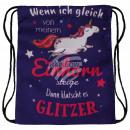 Großhandel Schulbedarf: Gymbag Gymsac Rucksack violett lila Einhorn Spruch