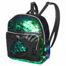 Backpack green black sequin design approx. 24 cm