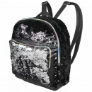 Backpack black silver sequin design approx. 24 cm