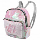 Backpack pink white Paillettendesign ca. 24 cm