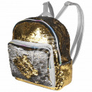 wholesale Backpacks: Backpack gold  silver sequin design approx. 24 cm