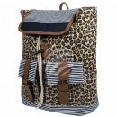 groothandel Rugzakken: Rugzak beige  bruine leopard  ongeveer 40 cm x ...