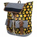 Backpack black yellow emoticons about 40 cm x 34 c