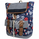 wholesale Backpacks: Backpack navy blue white red Maritim approx. 40 cm