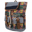 wholesale Backpacks: Backpack black multicolor aztec print