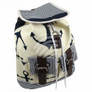Backpack cream navy blue maritime approx. 40 cm x