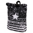 Backpack with roll closure and Star Pattern