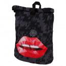 groothandel Rugzakken: Rugzak zwart met  rolluik polygonen lippen