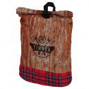 Rucksack mit  Rollverschluß Holzmuster  Timber