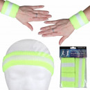 Sweatband headband set neon green white striped