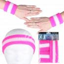 groothandel Sportkleding: Zweetband hoofdband set roze wit gestreept