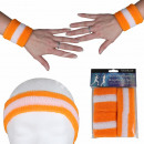 Sweatband headband set orange white striped