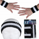 Großhandel Sportbekleidung: Schweißband Kopfband Set schwarz weiß ...