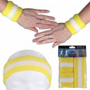 Sweatband headband set yellow white striped