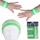 Großhandel Sportbekleidung: Schweißband Kopfband Set grün hellgrün weiß gestre