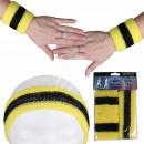 Großhandel Sportbekleidung: Schweißband Kopfband Set pink grün gelb gestreift