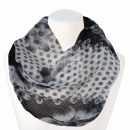 Ladies Loop Scarf Dots & Flowers white black g