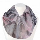 Women's Loop Scarf Flowers & Stripes rose