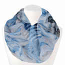 Ladies Loop Scarf Flowers & Stripes white blue