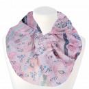 Ladies Loop Scarf Floral & Ornaments pink ligh