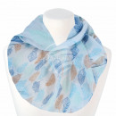 Ladies Loop Scarf Feathers white blue light blue b