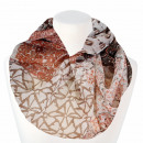 Ladies Loop Scarf Floral Ornaments white brown ros