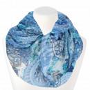 Ladies Loop Scarf Flowers & Mandala white blue