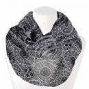 Ladies Loop Scarf Vintage Pattern white black