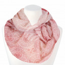 Ladies Loop Scarf Vintage Pattern white red