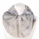 Damen Loopschal Vintage Muster weiss braun grau