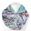 Ladies loop scarf zigzag white turquoise blue pink