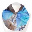 Damen Loopschal Floral und Ornamente weiss blau