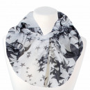 Ladies loop scarf butterflies and stars white