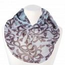 Ladies Loop Scarf Vintage Floral light blue brown