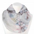 groothandel Kleding & Fashion: Dames Loopschal  Hexagon en bloemen grijs lichtblau
