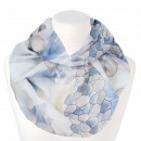 Ladies loop scarf hexagon and flowers white blue s