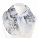 Ladies loop scarf hexagon and flowers white gray