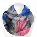 Ladies loop scarf hearts and spots gray pink blue