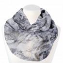 Großhandel Tücher & Schals: Damen Loopschal Floral weiss schwarz grau