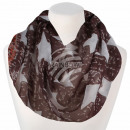Ladies loop scarf stars brown