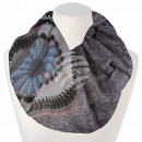 Ladies loop scarf circles flowers gray
