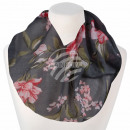 Ladies loop scarf flowers blooms gray
