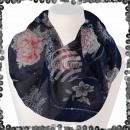 Ladies loop scarf with sequin paisley lines