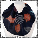 Ladies loop scarf with sequin sequined leaves