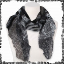 Women's scarf with sequin paisley lines flower