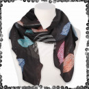 Women's scarf with sequin sequined leaves
