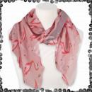 Foulard femme avec paillettes flamants roses rose